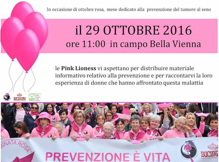 In occasione di ottobre rosa, mese dedicato alla prevenzione del tumore al seno, il 29 ottobre 2016 ore 11:00 in Campo Bella Vienna a Venezia Le Pink Lioness vi aspettano per distribuire materiale informative relativo alla prevenzione e per raccontarvi la loro esperienza di donne che hanno affrontato questa malattia