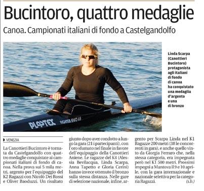 La Nuova di Venezia: Campionati italiani di fondo a Castelgandolfo, Bucintoro, 4 medaglie